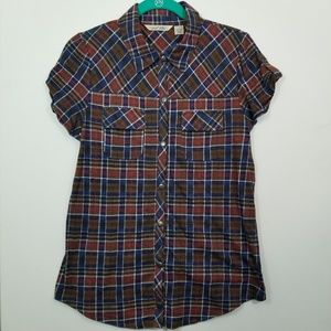 Derek Heart Plaid Top with Snap Buttons Large